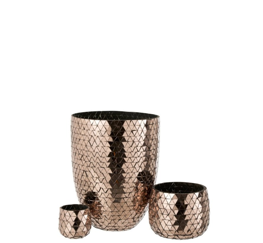 Tealight Holder Glass Mosaic Triangles - Pink Gold