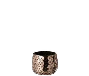 J -Line Tealight Holder Glass Mosaic Triangles - Pink Gold