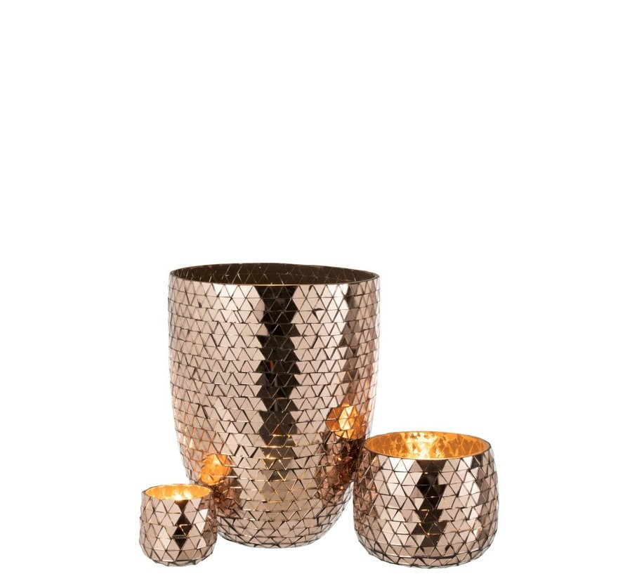 Vase High Glass Mosaic Triangles - Rose Gold