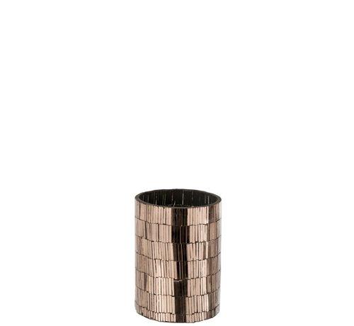 J-Line  Tealight Holder Glass Mosaic Rectangles - Pink Gold