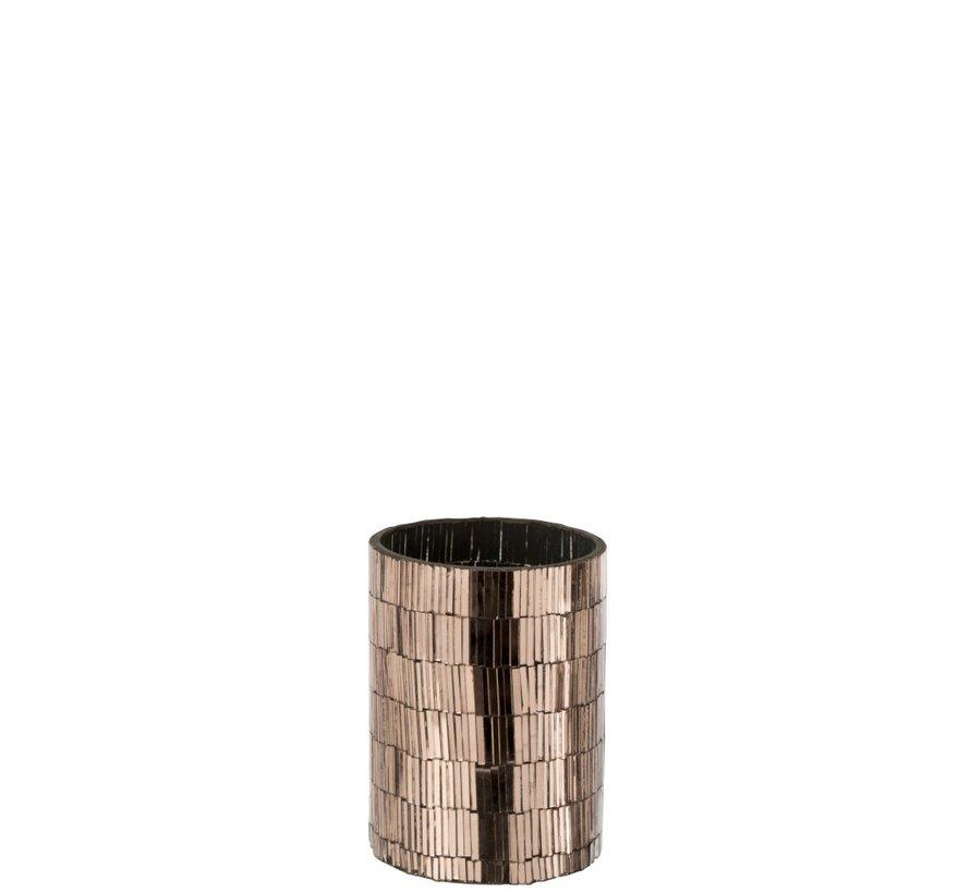 Tealight Holder Glass Mosaic Rectangles - Pink Gold