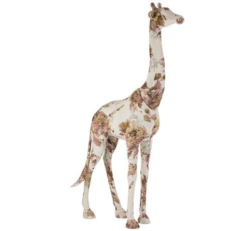 J -Line Decoration Giraffe Polyester Linen Pink - Light Blue