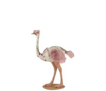 J -Line Decoration Ostrich Polyester Linen Pink Light Blue - Large