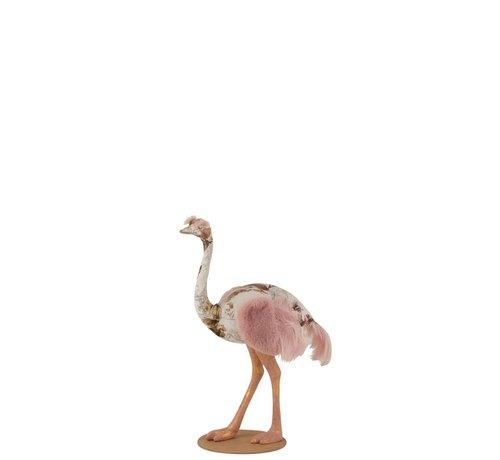 J-Line Decoration Ostrich Polyester Linen Pink Light Blue - Small