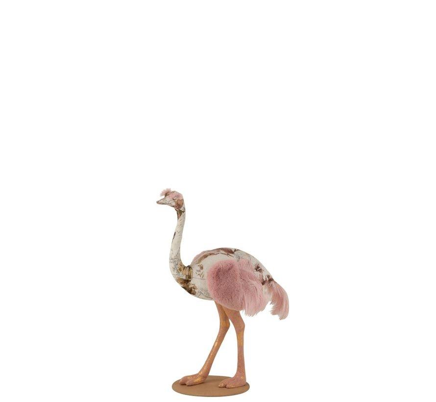 Decoratie Struisvogel Polyester Linnen Roze Lichtblauw - Small