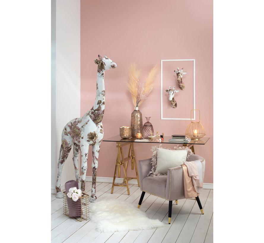 Decoratie Giraf Polyester Linnen Roze - Lichtblauw