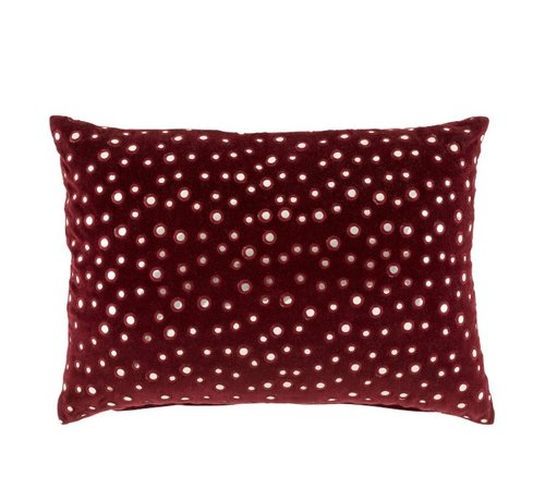 J-Line  Cushion Rectangle Cotton Mirrors Red - Silver
