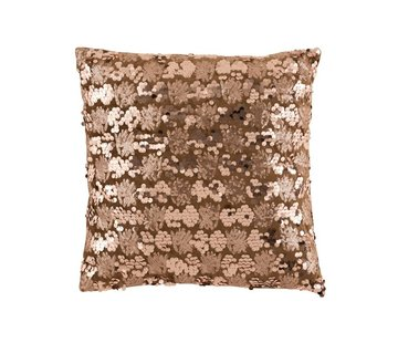 J -Line Cushion Square Velvet Sequins Brown - Bronze