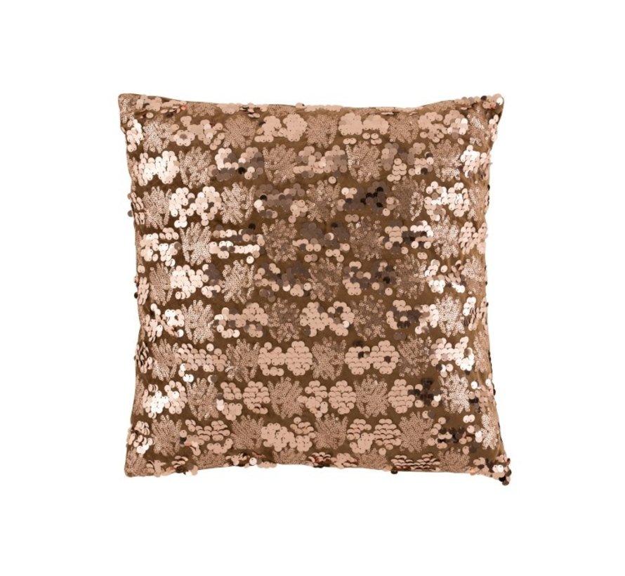 Kussen Vierkant Velvet Pailletten Bruin - Brons