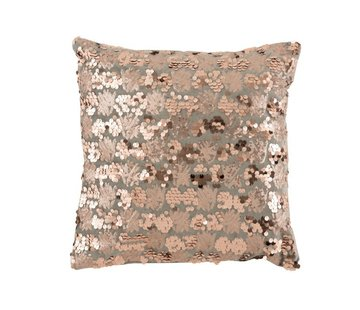 J -Line Cushion Square Velvet Sequins Gray - Pink