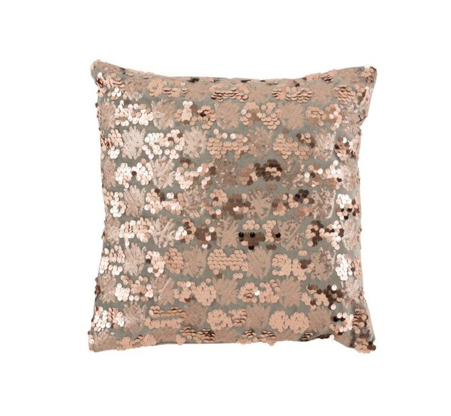 Cushion Square Velvet Sequins Gray - Pink