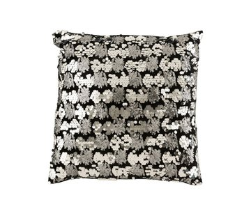 J -Line Cushion Square Velvet Sequins Black - Silver