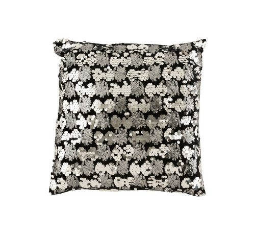 J-Line Cushion Square Velvet Sequins Black - Silver