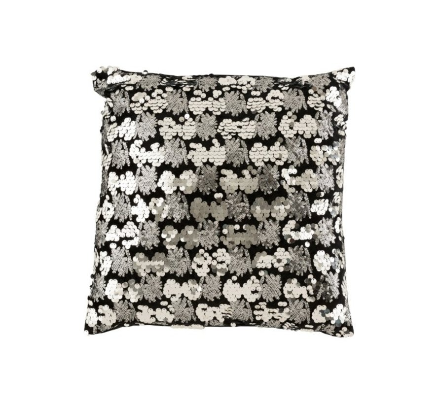 Kussen Vierkant Velvet Pailletten Zwart - Zilver