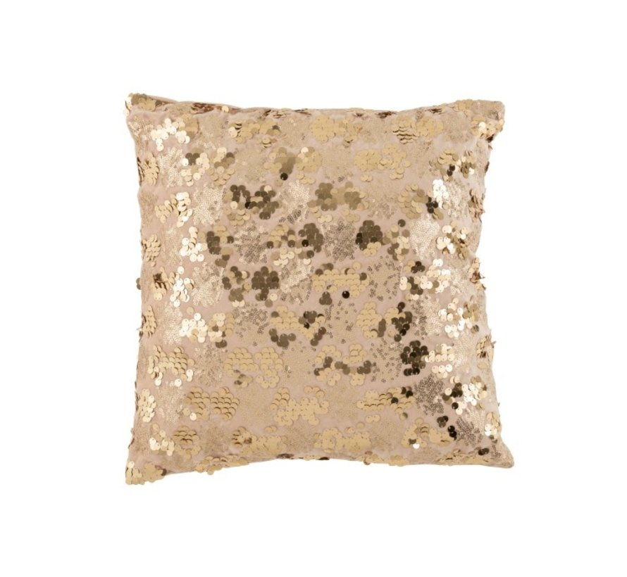 Cushion Square Velvet Sequins Champagne - Beige