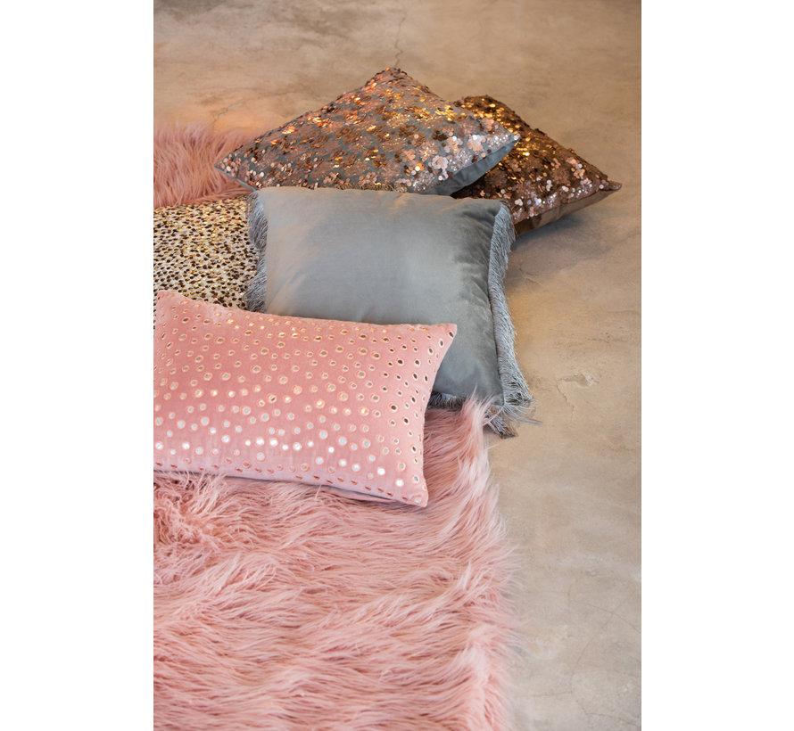 Cushion Rectangle Cotton Mirrors Pink - Silver