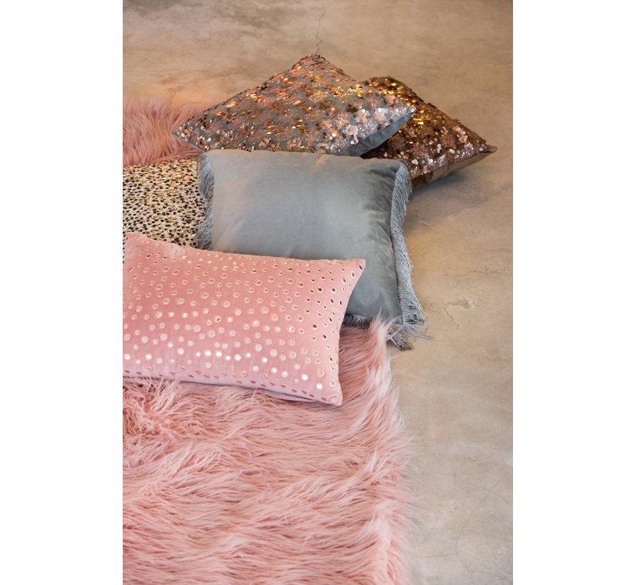 Kussen Rechthoek Katoen Spiegels Roze - Zilver
