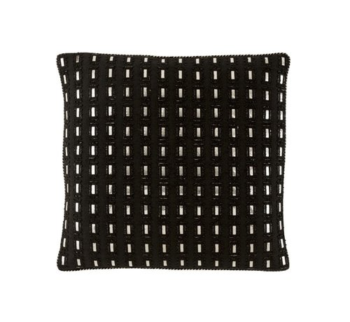 J -Line Cushion Square Cotton Mirror Rectangle Black - Silver