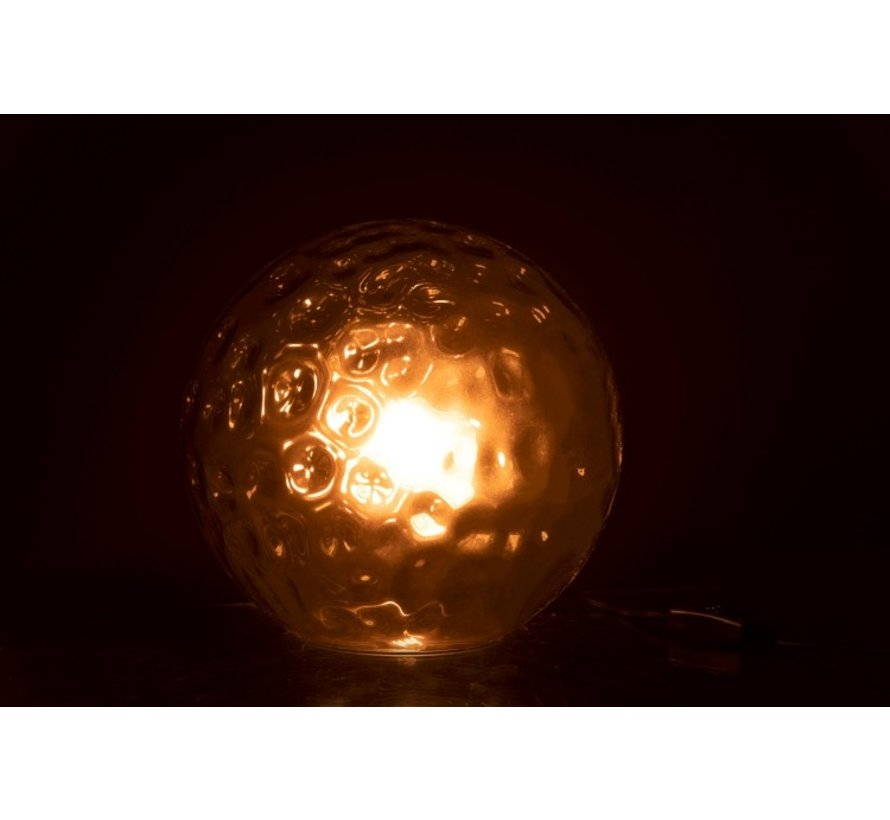 Tafellamp Bol Golvend Glas Lichtgrijs - Small