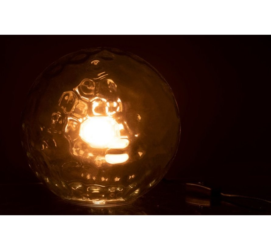 Table lamp Sphere Wavy Glass Light Blue - Large