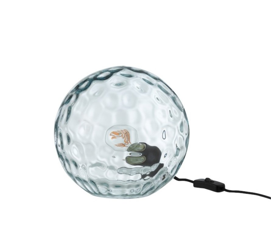 Table lamp Sphere Wavy Glass Light Blue - Small