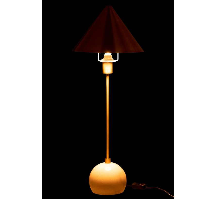 Table lamp Cone Lampshade Metal Marble White - Gold