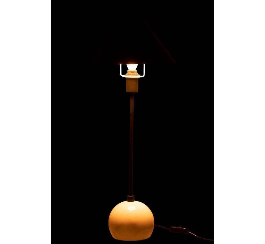 Table lamp Cone Lampshade Metal Marble White - Black