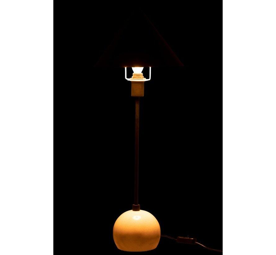 Tafellamp Kegel Lampenkap Metaal Marmer Wit - Zwart