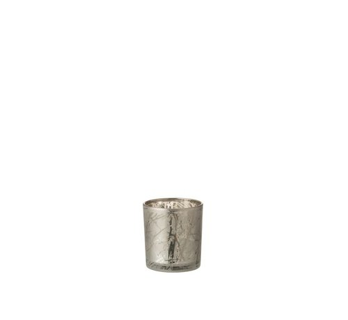 J -Line Tealight Holder Glass Cylinder Branches Gray - Small
