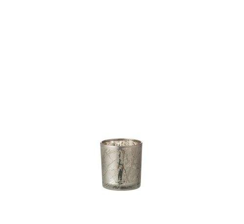 J-Line Theelichthouder Glas Cilinder Takken Grijs - Small