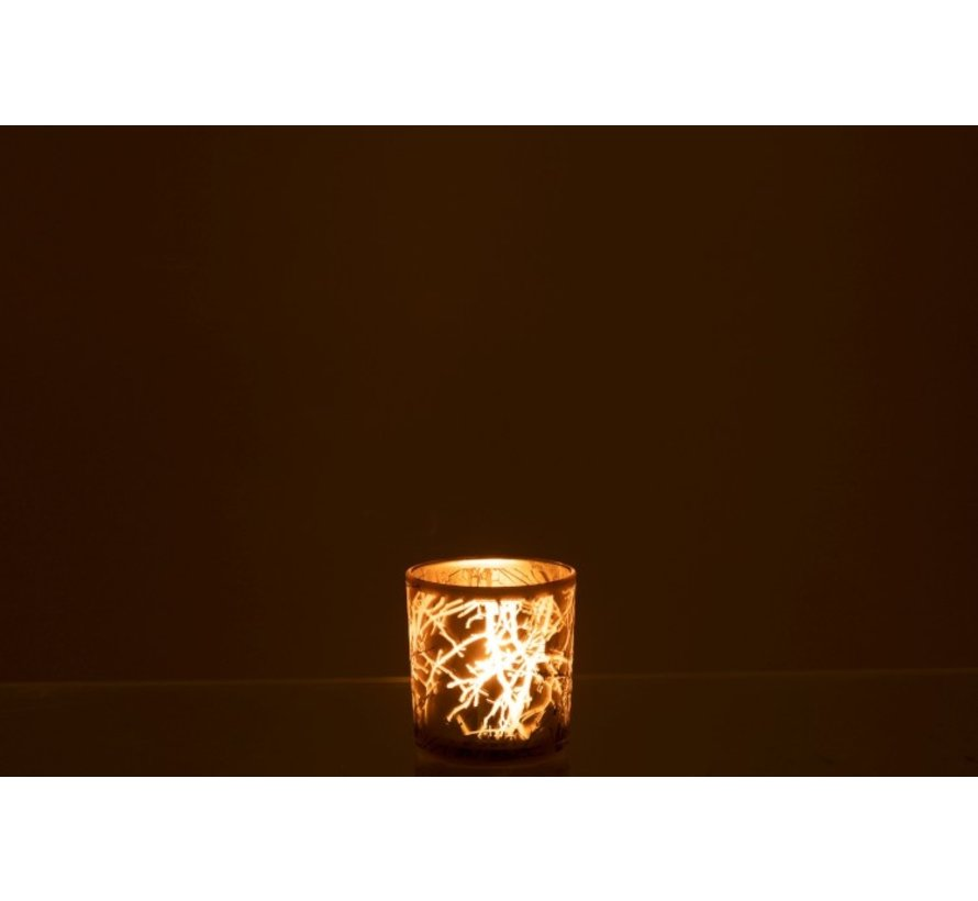 Tealight Holder Glass Cylinder Branches Gray - Small