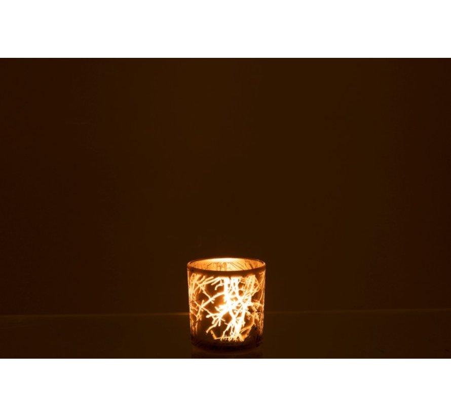 Theelichthouder Glas Cilinder Takken Grijs - Small