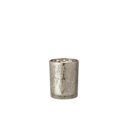 J -Line Tealight Holder Glass Cylinder Branches Gray - Medium