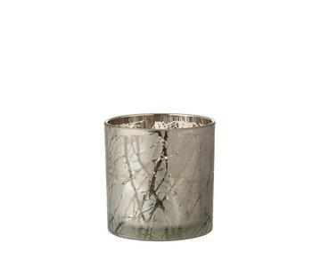 J -Line Tealight Holder Glass Cylinder Branches Gray - Large