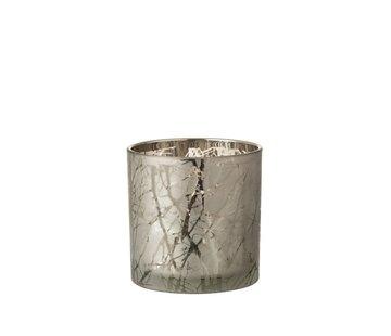 J -Line Theelichthouder Glas Cilinder Takken Grijs - Large