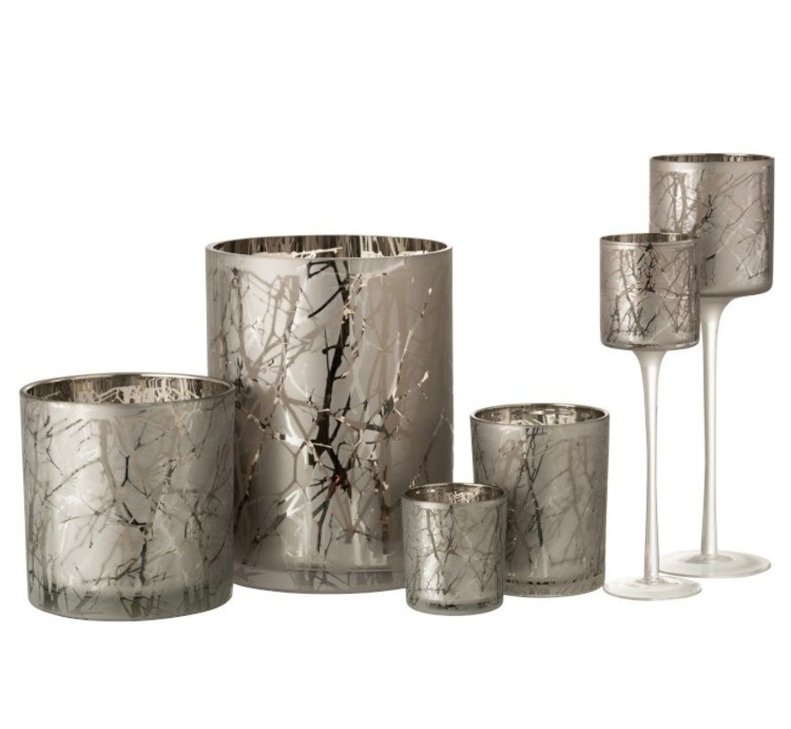 Tealight Holder Glass Cylinder Branches Gray - Large