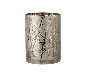 J -Line Tealight Holder Glass Cylinder Branches Gray - Extra Large