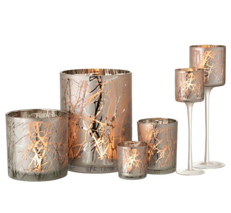 Tealight Holder Glass Cylinder Branches Gray - Extra Large