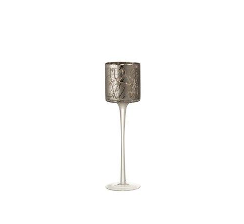 J -Line Theelichthouder Glas Op Voet Takken Grijs - Small