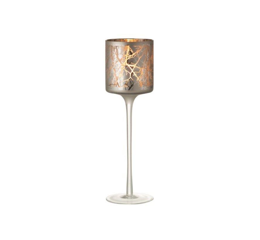 Theelichthouder Glas Op Voet Takken Grijs - Large