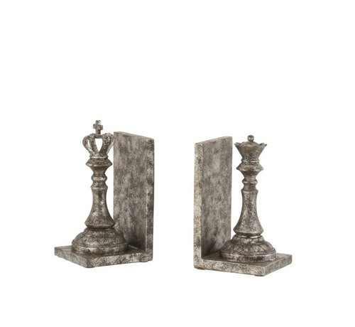 J -Line Decorative Bookends Chess Pieces Poly - Dark Gray