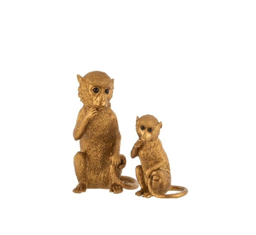 Decoration Figures Sitting Monkey Poly Gold - Small