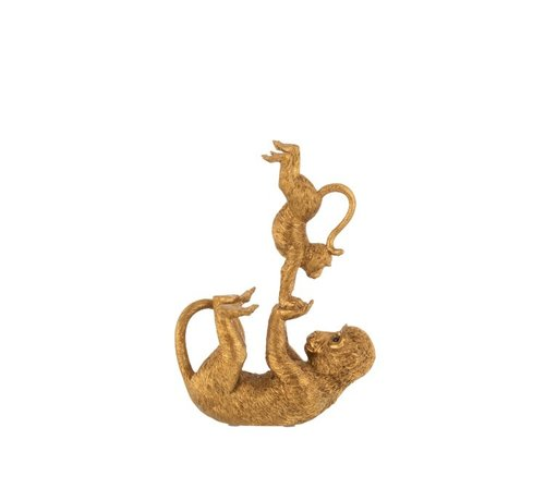 J -Line Decoration Figure Acrobatic Monkey With Child Poly - Gold