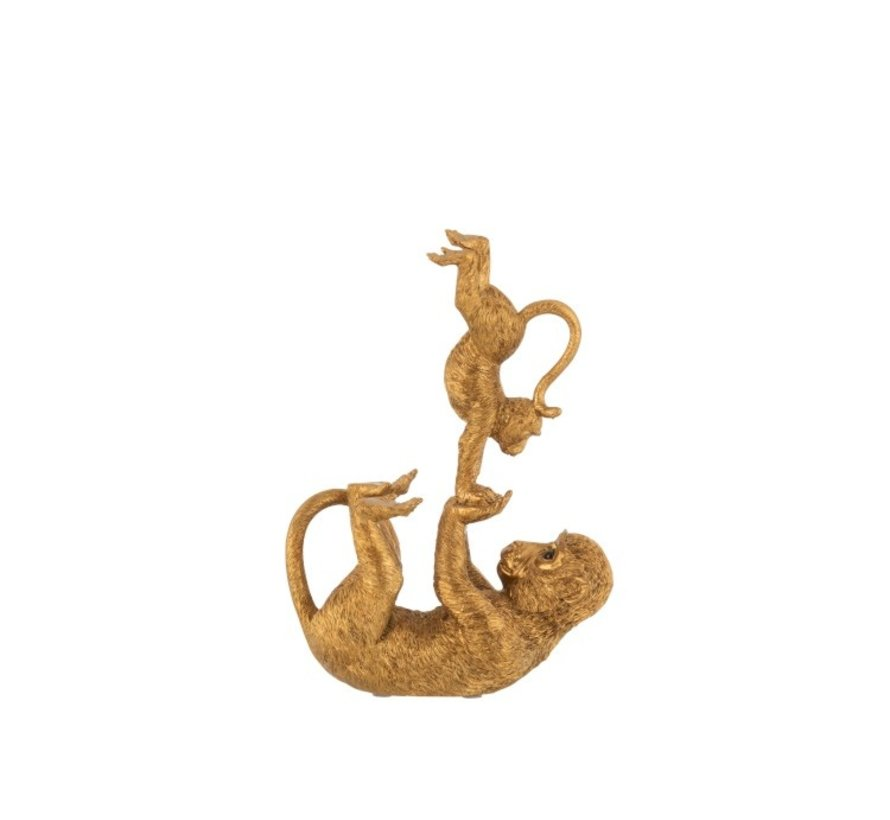 Decoration Figure Acrobatic Monkey With Child Poly - Gold