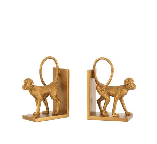 J -Line Decorative Bookends Two Monkeys Poly - Gold