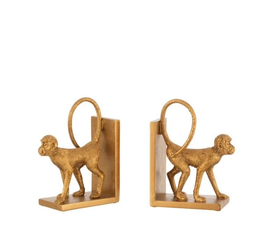 Decorative Bookends Two Monkeys Poly - Gold