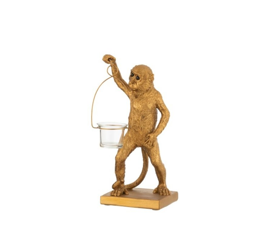 Tealight Holder Monkey With Holder In Hand - Gold