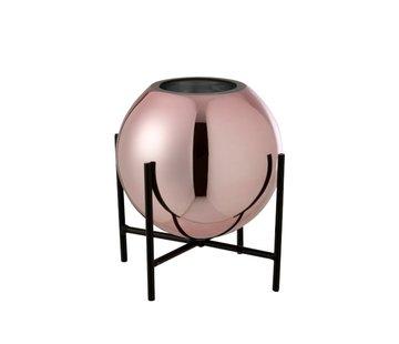 J -Line Vaas Glas Op Voet Metaal Blinkend Roze - Small