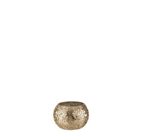 J -Line Theelichthouder Bol Gebroken Glas Goud - Small