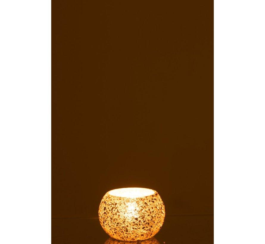 Theelichthouder Bol Gebroken Glas Goud - Small